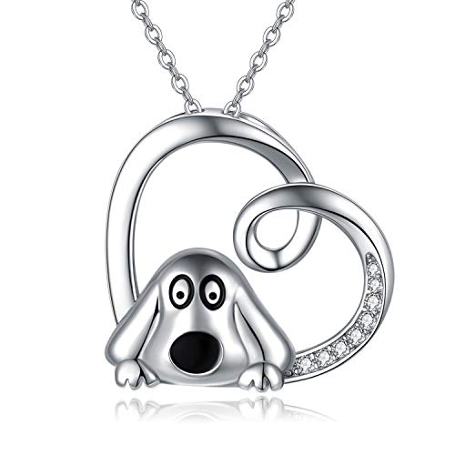 Dog Necklace for Women 925 Sterling Silver Cute Pet Pendant Necklace Jewellery Gifts for Dog Lovers