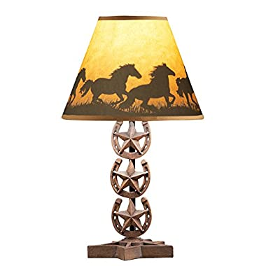 Collections Etc Western Horse Tabletop Lamp Shade with Horseshoe Base