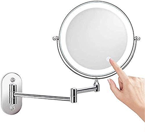 L&B-MR Espejo de maquillaje de 8 pulgadas de dos caras 10X de aumento LED táctil atenuación giratoria extensible plegable para hotel vanidad funciona con pilas