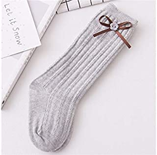 Lovely Socks Children Cotton Socks Kids Spring and Autumn Bow-Knot Button Anti-Slip Mid Tube Socks (White) Newborn Sock (Color : Grey, Size : S)