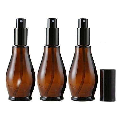 Flaconi spray vuoti da 100 ml, ricaricabili, in vetro ambrato, per cosmetici, profumi, pulizia con nebulizzatori sottili e tappo antipolvere, 3 pezzi