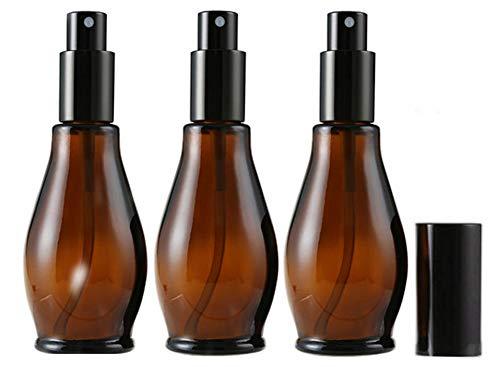 Lot de 3flacons de 100ml en verre Ambre vides rechargeables Spray pour parfum Cosmétique de stockage de nettoyage avec fine Brume pulvérisateurs et bouchon anti-poussière