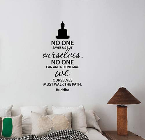 No One Saves Us Buddha Inspirational Quote Wall Decal Religious Buddhism Saying Vinyl Sticker Philosophy Art Decorations for Home Bedroom Meditation Yoga Room Decor bq1
