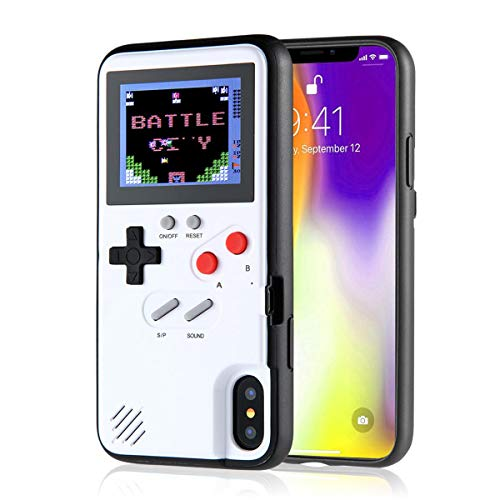 Volwco Custodia Gameboy per iPhone, Custodia in Silicone Stile Gameboy retrò con 36 Piccoli Giochi, Schermo A Colori, Cover Gameboy per iPhone XS/X/XSmax/XR, IPhone6/7/8Plus (iPhone XS Max, White)