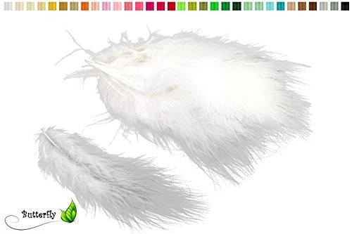 Marabufedern ca. 20 Stück, 12-17cm (weiß 029) // Dekofedern Bastelfedern Marabu Federn Schmuckfedern
