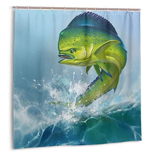 Duschvorhang,Grüner Ozean Mahi Delfinfisch auf blauem Dorado,der Salzwasser fischt,Wasserdicht Bad Vorhang mit Haken 180cmx180cm