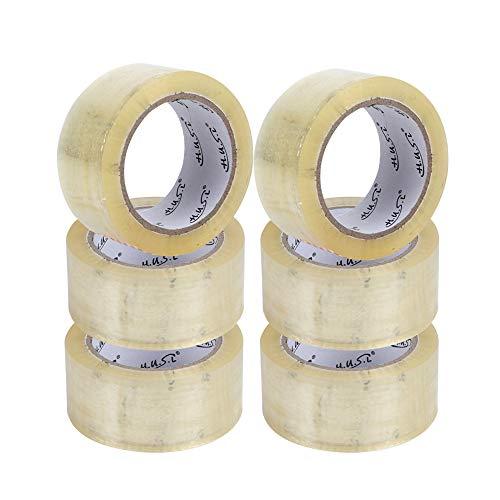 HUSL 6 Rollos Cinta de embalaje Transparente 48mm*100M para paquetes, transporte, Mudanzas Extrafuerte y Resistente Cinta Embalar adhesiva, Precinto adhesivo embalaje (Transparente)