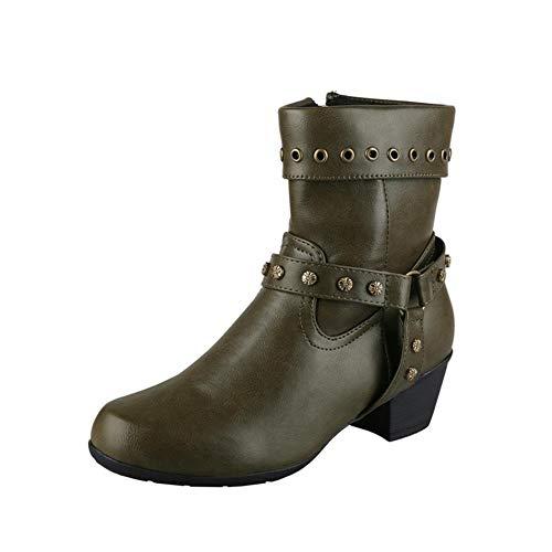 Vrouwen Mannen Retro Ronde Neus Cowboy Boots Leer Klinknagel Rits Aan De Zijkant Enkellaarsjes Comfortabele Anti-Slip Laarsjes,Green,36 EU