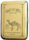 XIAOXIA Portable Waterproof Metal Cigarette Case Lucky Match Cigarette Case 16 Retro Copper Camel Cigarette Case (Color : Camel)