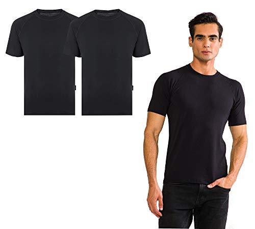 THERMOFORM TF - Set di 2 t-shirt da uomo in bambù bio al 100%, commercio equo e solidale Nero  S