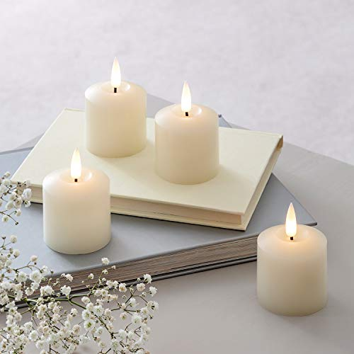 Lights4fun Set of 4 TruGlow Votive Tea Lights Battery LED Flameless with Timer 5.5cm Real Ivory Wax