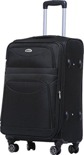 BEIBYE 8009 TSA Schloß Stoff Trolley Reisekoffer Koffer Kofferset Gepäckset (Schwarz, M)