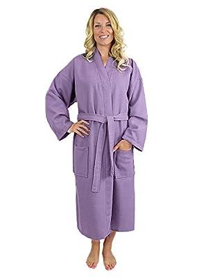 100% Luxurious Turkish Cotton Waffle Diamond Pattern Kimono Spa Bathrobe for Women