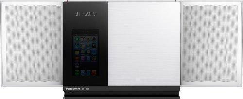 Panasonic SC-HC58EG-W Micro Hifi-system (CD-Player, UKW-RDS-Tuner, 40 Watt RMS, Bluetooth, Airplay, USB) mit Apple iPhone 5 Dockingstation weiß