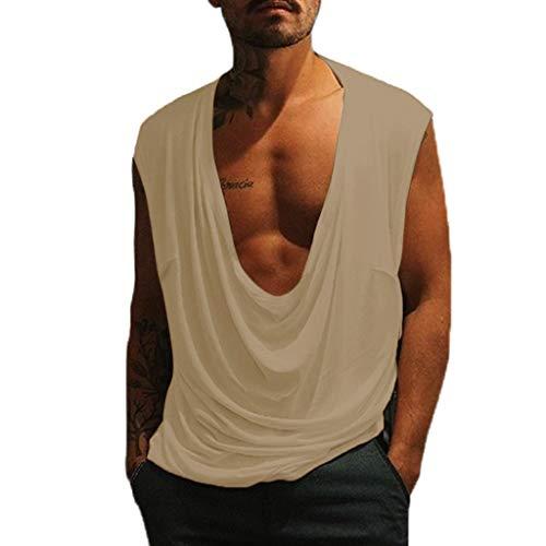 Qinhanjia Männer T-Shirt Lässig Ärmellos Low Neck T-Shirt Lässig Sport Tops, Ärmelloses Herren T-Shirt mit Niedrigem Kragen Und Lässigem Sportoberteil