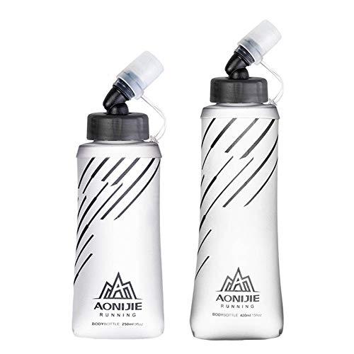WANGIRL Flacon Souple Pliable Bouteille d'eau Hydratation Vessie d'eau pour Courir Marathon Cyclisme Sentier Randonnée,500ml