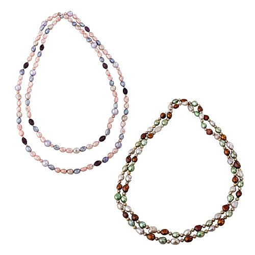 KATARINA Sterling Silver Multicolor Fresh Water Cultured Pearl Two Necklace Set