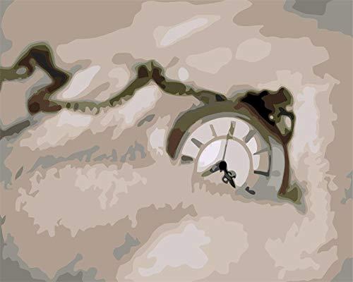 Dibujo de adultos por número Reloj Pintura digital DIY Pintura Decorativa De La Sala, para Adultos y niños Pintura al óleo Kit con Pinceles y Pinturas, 40x50cm(sin Marco)