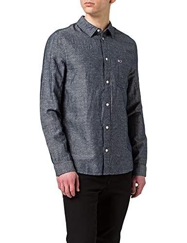 Tommy Jeans Tjm Linen Blend Shirt Camicia, Twilight Navy, M Uomo