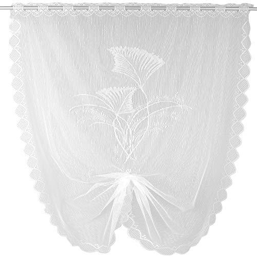 Arsvita Schwalbenschwanz Bistrogardine in weiß (BxL) 100 x 160 cm - Design: Ziergras