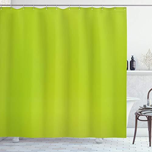 ABAKUHAUS Lime Green Duschvorhang, Verschwommene Pastellfarben, mit 12 Ringe Set Wasserdicht Stielvoll Modern Farbfest & Schimmel Resistent, 175x200 cm, Apfelgrün
