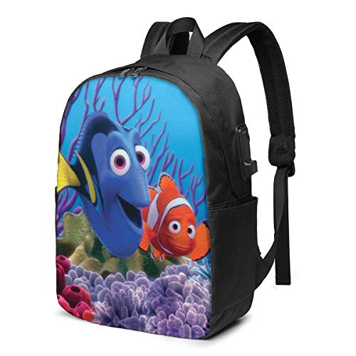 DJNGN FindingNeMo1 Laptop Backpack for Men Women with Waterproof Travel/School Backpack with USB Charging Port Headphone Interface Slim Business/Work Computer Bag Fit 17 Inches Laptop