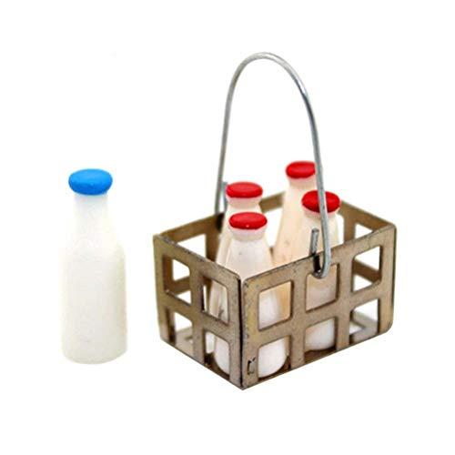 Exceart 6PCS Dollhouse Basket Milk Bottles Miniature Baskets 1:12 Dollhouse Decoration Mini House Accessories