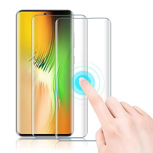 Agedate Lot de 2 films de protection d'écran en verre blindé pour Xiaomi Mi Note 10 Pro, couverture complète 3D, anti-rayures, sans bulles, protection d'écran pour Xiaomi Mi Note 10 Pro avec aide à l'installation