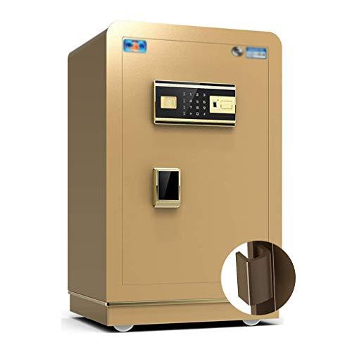 GAXQFEI Diversión Cafias de Pared Caja Seguro de Caja Seguro Inteligente Antibroft Oficina Seguro de Seguridad 60 cm Alimento de la Huella Dactilar de Todos,Oro,40.5 * 37 * 61Cm