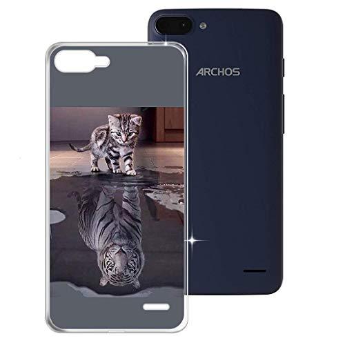 HHUAN Hülle für Archos Core 55S Ultra Semi-Transparent Hülle Dünn Weiche Silikon Tiger & Katze Stoßfest Handyhülle Tasche Schale Bumper TPU Schutzhülle Cover für Archos Core 55S Ultra (5.45