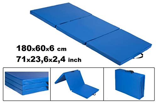 Materaco - Colchoneta de gimnasia, plegable, 195 x 60 x 6 cm