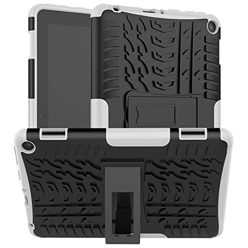 Ankoe for Kindle Fire hd 8 case Fire hd 8 Plus case 2020 Release 10th Generation, Heavy Duty Dual Layer Rugged Rubber Shockproof Protective Case with Kickstand for Kindle fire 8/8 Plus (White)