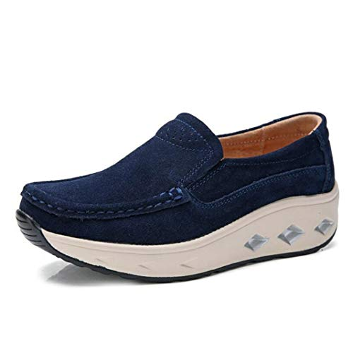 Platform Wedges Loafers Voor Vrouwen Retro Suede Mocassins Met Vierkante Neus Casual Creepers Sneakers Slip Op Jogging-wandelschoenen