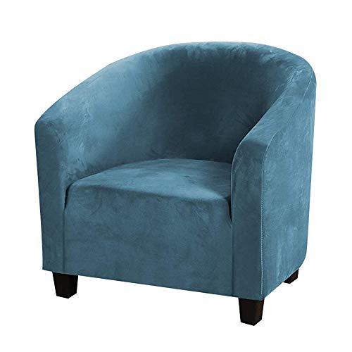 Mingfuxin Funda para Sofá Club Chair, Fundas De Silla De Bañera De Terciopelo Elástico Fundas Blandas para Sillón Protector De Muebles (Pavo Real Azul, Velvet)