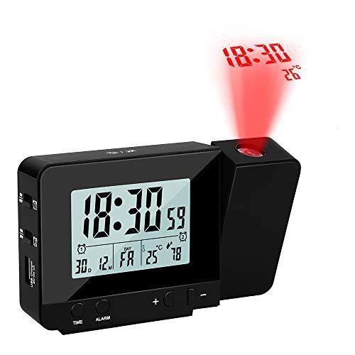 Vegena Wecker mit Projektion,USB-Anschluss Digital Projektionswecker mit Temperatur und Zeit-Projektion/Innentemperatur und Luftfeuchtigkeit/Kalender Schwarz