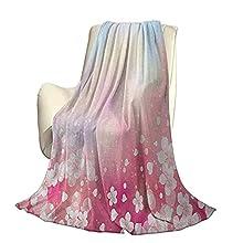 Pastel Fluffy Plush Soft Comfortable Warm blanketJapanese Nature Sakura Tree Cherry Blossoms Romántico Brumoso Soñador Alegre Lujo Aire Acondicionado Funda nórdica A60 x L50 Pulgadas Rosa pá