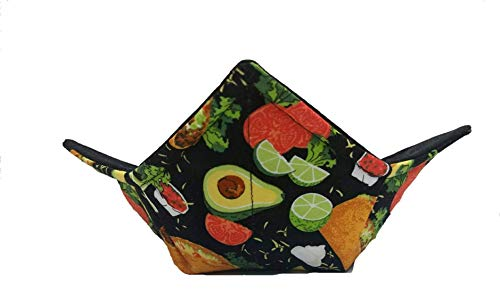 Taco and Avacado quilted cotton reversible microwavable soup bowl cozy