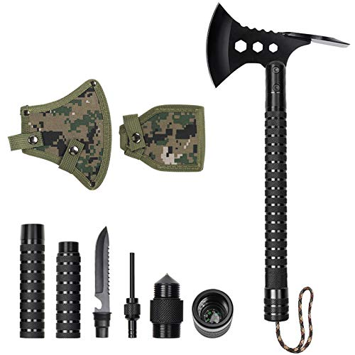LIANTRAL Survival Camping Axe, Folding Multi-Tool Tactical Hatchet Kit with Nylon Sheath for Outdoor Hiking Hunting Backpacking, Black