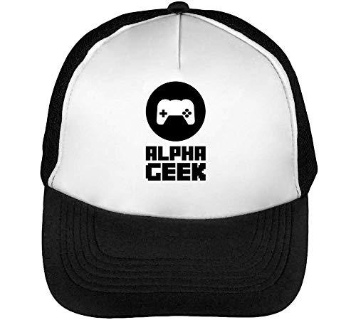 Alpha Geek Gorras Hombre Snapback Beisbol Negro Blanco