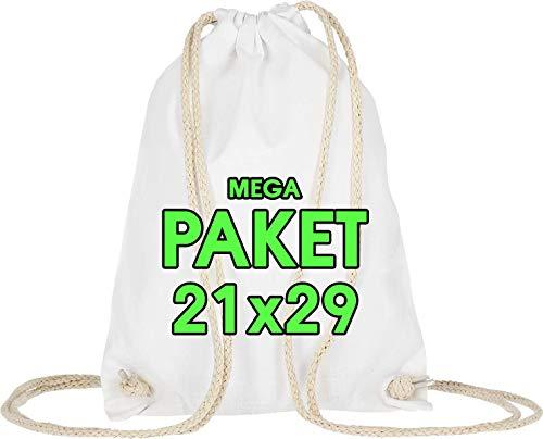 10 Stück Turnbeutel 21 x 29 cm – Kleine Sportbeutel Baumwollbeutel - Festival Event Bag Party - Hipster Stofftasche Bag, Beutel, Jutebeutel OEKO-TEX® zertifiziert Stoffbeutel Sack zum gestalten Weiß
