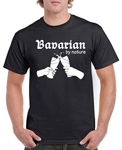 Comedy Shirts - Bavarian by Nature - Herren T-Shirt - Schwarz/Weiss Gr. L