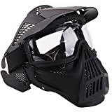 NINAT Airsoft Mask Tactical Masks Full Face with Clearlens Lens Goggles Eye Protection for Halloween CS Survival Games Shooting Cosplay Mask Black
