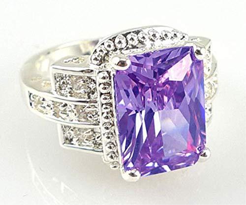 Anillo DDTing para mujer, plata de ley 925, peridoto blanco, piedras preciosas de topacio blanco, anillo de boda o fiesta, joyería goodservice morado 7