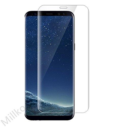 Millko Samsung Galaxy S8 Plus 強化ガラスフィルム 専用 木箱 3D 曲面 6.2インチ 気泡ゼロ 飛散防止 ギャラクシー S8 プラス 液晶保護フィルム 国産ガラス素材 (クリア)