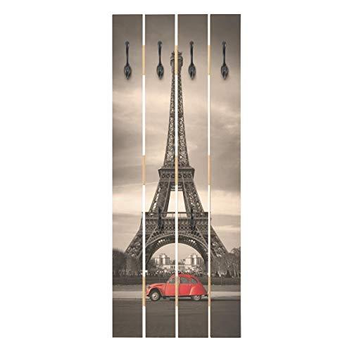 Bilderwelten Wandgarderobe Holz Paneel - Spot on Paris - Haken schwarz - Hoch 100 x 40cm
