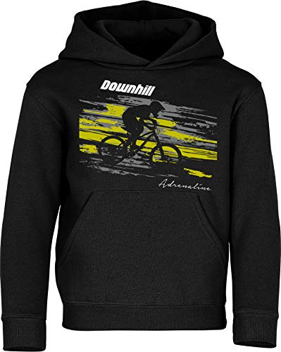 Kinder Pullover: Downhill Adrenaline - Hoodie Kapuzenpullover Pulli Fahrrad Geschenk-e Jungen & Mädchen - Radfahrer-in Mountain Bike MTB BMX Roller Rad Outdoor Junge Kind Sport Trikot Geburtstag (140)