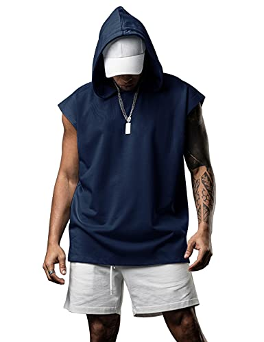 Herren Kapuzenpullover Sweatshirt Ärmellos Kapuzenpulli Kapuze Hoodie Sport Style Casual Fitness Training Basic Navy blau XL