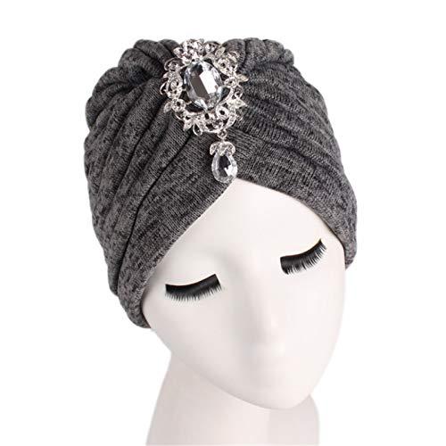 NgMik Gorras de Turbante para Mujeres 2 unids Colgante Broche Indio Sombrero de Mujer Engrosada de Dos Tonos Sombrero Turbante para Mujeres y niña Gorante de Gorra Turbante Plisado