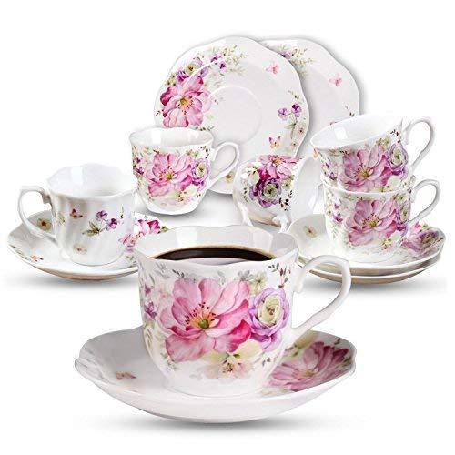 Porcelana Juegos de Café Taza de 7oz - Regalo de Vacacione Racimo De Flores Impreso Set de Tazas de Té Nueva Porcelana de Hueso Juego de Tazas y Platillos de Café Para Mocha Capuccino, Café con Leche