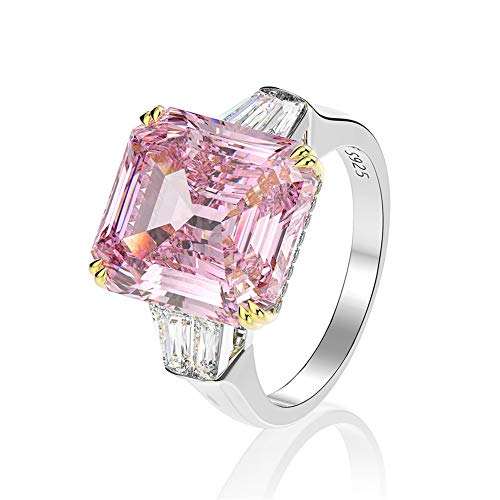 AINUOSHI Emerald Cut Ring Solitaire Baguette 3 Stones 9 Carat Pink Cubic Zirconia CZ Engagement Sterling Silver Wedding Anniversary Band Jewelry (9)